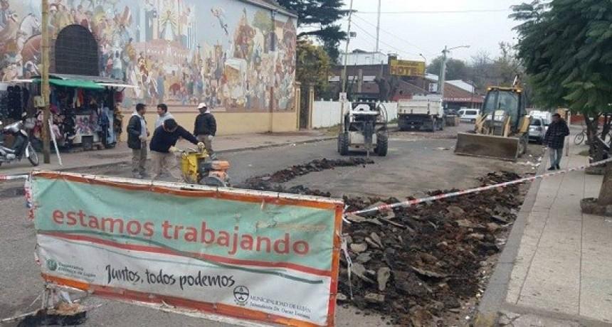 Terminal de Ómnibus: trabajos en la calle Almirante Brown