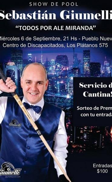 Sebastián Giumelli brindará una exhibición a beneficio de Alesandro Miranda