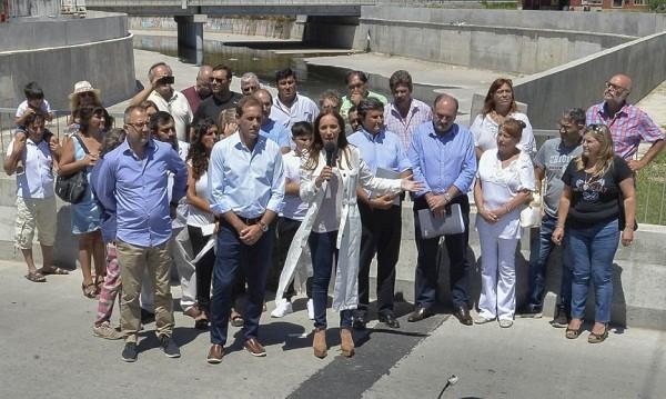 Vidal inauguró obras hidráulicas y se refirió al Río Luján