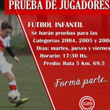 Fútbol Infantil: Pruebas de jugadores en el Club Luján