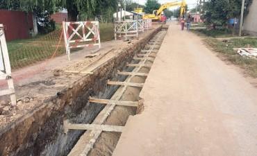Avances en las obras de desagües en el barrio Zapiola