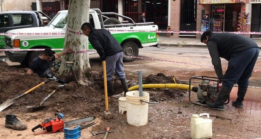 Repararon un caño de agua potable en la Plaza Colón
