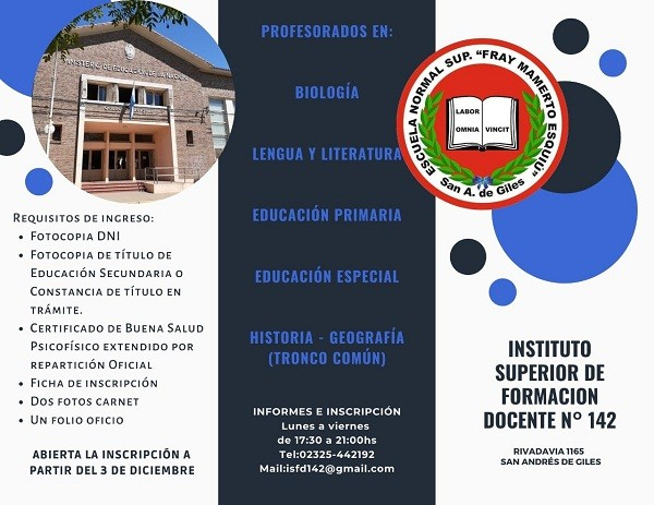 Inscripciones abiertas para el Instituto Superior de Formación Docente Nº 142